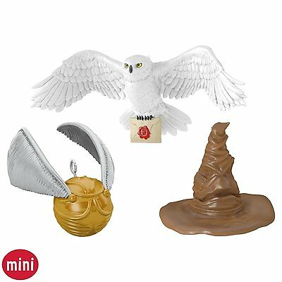 A Harry Potter Collection 2016 Hallmark Ornament  Sorting Hat Golden Snitch Owl
