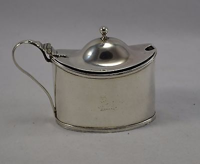 Antique George Iii Solid Sterling Silver Oval Mustard Pot Robert Hennell 1793