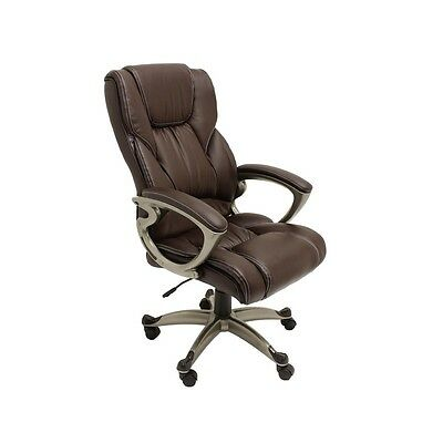ALEKO High Back Office Chair Ergonomic Computer Desk Chair Brown Pu Leather