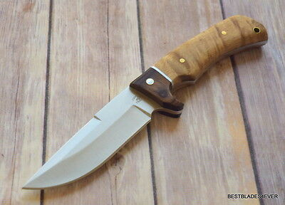Rough Rider Fixed Blade Hunting Knife Wood Handle With Nylon Sheath Full Tang