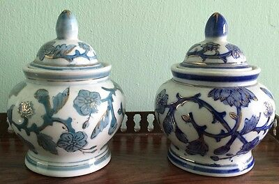Two Ceramic Blue And White And Green And White Condiment Pots