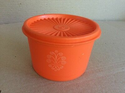 Tupperware VINTAGE SERVALIER SMALL ORANGE CANISTER with LID