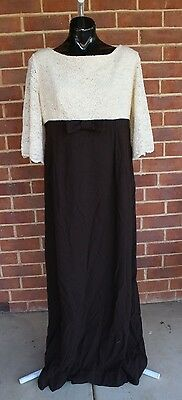 Vintage brown and white wool maxi evening gown wedding dress