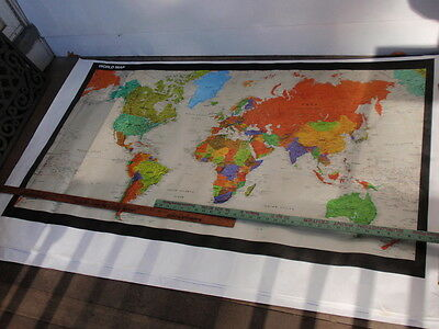 Vintage  World Map   Very Large  35 X 58 Inches Made Of Tyvek