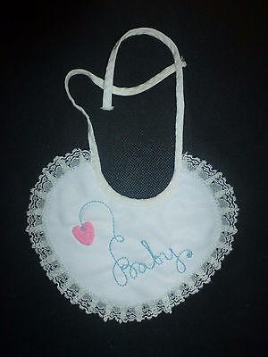 Vintage Baby Girls White Embroidered Lace Bib