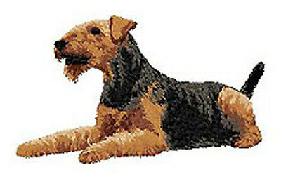 Airdale Terrier Portrait Lying down Embroidery Patch  (mm)