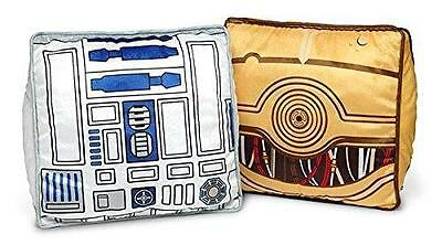 "Star Wars Throw Pillow Set of 2 THINKGEEK R2D2 & C3PO 15"" Free Priority Shipping"