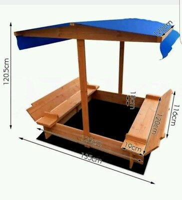 Sandpit Outdoor wooden sandbox Canopy Bench Play Toy