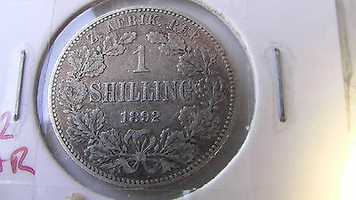ZAR (South Africa) 1892 one shilling silver coin