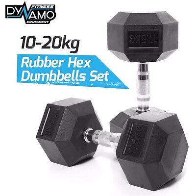 Rubber hex Dumbbells Set 10-20kg PAIRS Heavy Duty for Gym Fitness