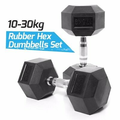 Rubber hex Dumbbells Set 10-30kg PAIRS Heavy Duty for Gym Fitness