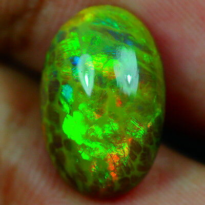 4.91 ct AWESOME THE BEST ! MULTI RAINBOW 3D FLASH PATTERN SEMI BLACK OPAL