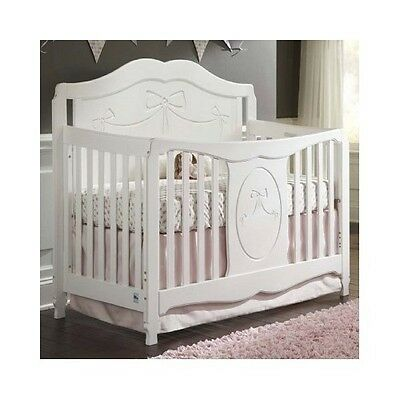 Baby Cribs And Bassinets 4 in 1 Convertible White Nursery Furniture Princess Bed