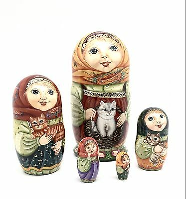 Russian Nesting Dolls Girl w/Cats Hand Carved Hand Painted UNIQUE