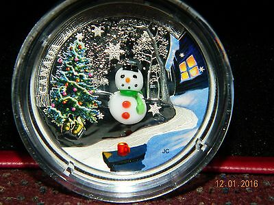 2014 Canada $20 Holiday Snowman 1Oz Proof Silver Coin With Venetian Murano Glass