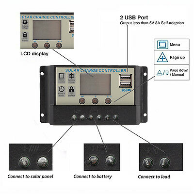 30A 12V/24V LCD Solar Panel Battery Regulator Charge Controller Auto PWM