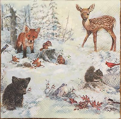 2 single paper napkins for decoupage scrapboocing crafts Winter Forest Animals