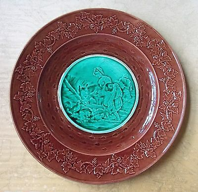 Vintage Late 19th Century French Brown & Green Majolica Plate-23.5cm Diameter