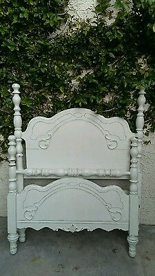 Shabby chic white wood bed with matching sideboards also use 4day bed /benches