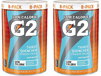 Gatorade G2 Low Calorie Powder Packs - Glacier Freeze - 2 Canisters (16 packets)