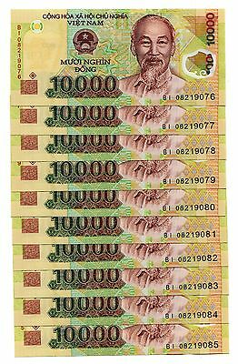 Vietnam Banknote 10 pcs x 10,000 10000 Dong Polymer Currency Pick 119 , UNC