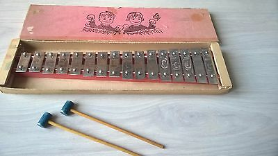 Vintage Old Toy Xylophone / Glockenspiel with strikers - 1950,s / 60's