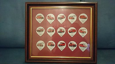 Fire Engine creamer lids - mounted in 3 frames - 45 in total - from Switzerland