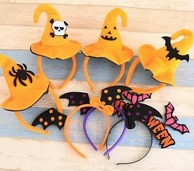 4 PCS Witch Pumpkin Hat Headpieces Headbands for Halloween Party Hair Accessory