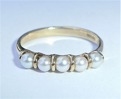 9ct Gold Cultured Pearl 5 Stone Ring, Size M