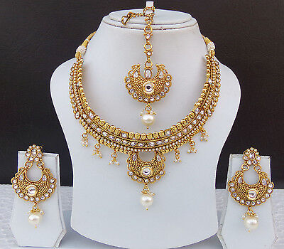 Party Wear Ethnic Polki Bridal Jewelry Traditional Indian Necklace Earrings Set