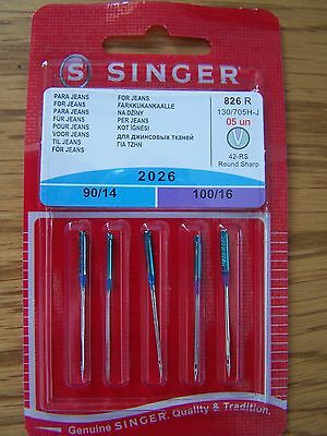 Singer Sewing Machine Needles 2026 Mixed Pack Of 5 For Jeans/denim Free P/p