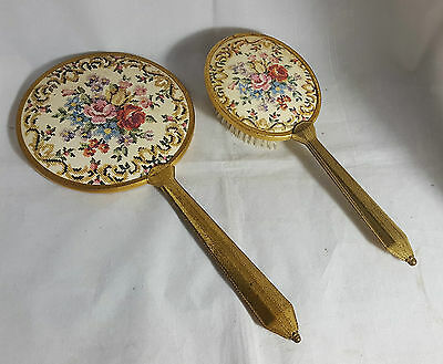 Beautiful Vintage Hand Mirror and Clothes Brush (Length - 30 cm)