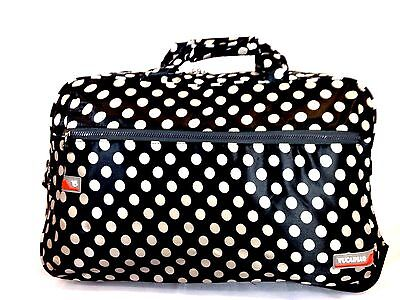 "22"" Rolling Wheeled Duffel Bag Carry On Travel Luggage Black & White Polka Dot"