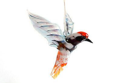Glass Woodpecker Figurine Bird Pendant Glass Bird Figurine Handmade