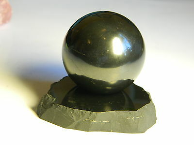Shungite Polished Sphere 40mm & Stand, EMF Protection Healing stone from Karelia
