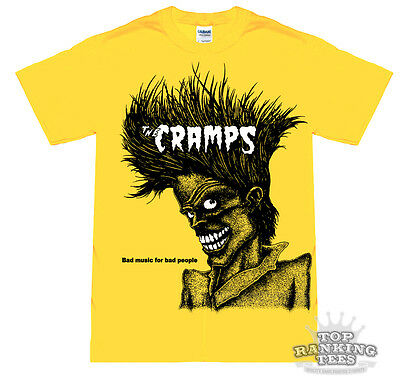 THE CRAMPS Bad Music For Bad People T-Shirt NEW yellow PUNK Psychobilly GOTH