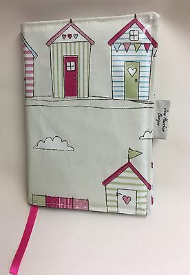 A5 Diary Cover,Week to view A5 diary cover,A5 journal cover,Beach Huts Oilcloth