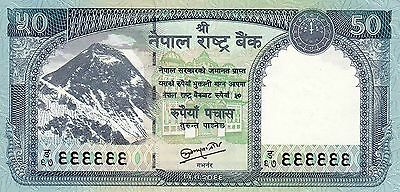 Nepal : FANCY SOLID No. 999999, Mt. EVEREST Banknote, Sign#19, 50 Rupees, UNC.