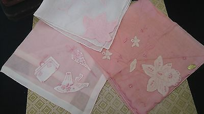 Vintage Madeira LINEN Handkerchief EMBROIDERED PINK FLORAL Applique LOT Tag