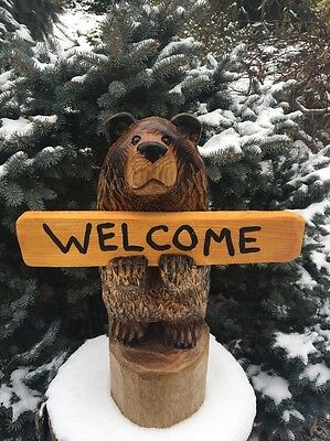 CHAINSAW CARVED BEAR w/ *CUSTOM SIGN* WOOD CARVING OAK WOOD RUSTIC CABIN DECOR