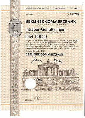 Berliner Commerzbank AG  1000DM  1989 Berlin   Brandenburger Tor