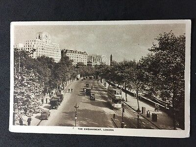 Vintage Postcard - London #E2 - RP The Embankment - Straker - Trams Old Cars