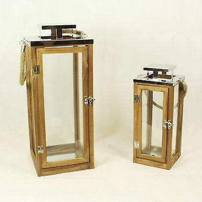 Wooden Hanging Candle Lantern with Rope Handles - Metal Wood Glass