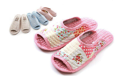NEW Soft Cotton Slippers Shoes Home Indoor Ladies Women House Anti-slip OPEN TOE