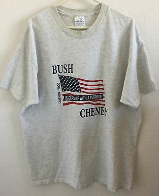 Bush Cheney Campaign 2000 Grey XL Graphic T-Shirt Leadership With a Purpose