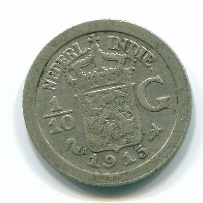 1915 Netherlands East Indies 1/10 Gulden Silver Colonial Coin Nl13316#3