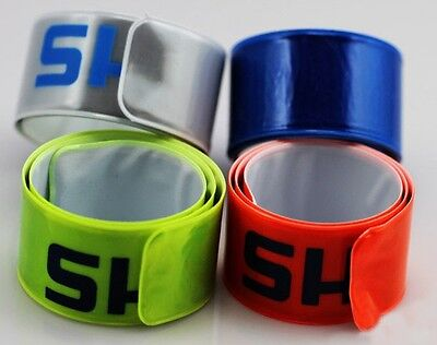 Pack 10 High Visibility Reflective Strap Lag Bands Slap Snap On Armband Ankle