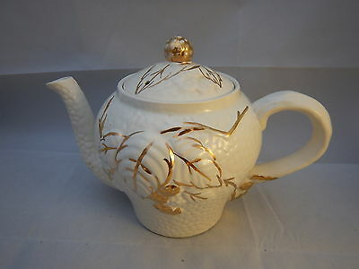Vintage Wade pottery white and gold Emossed teapot