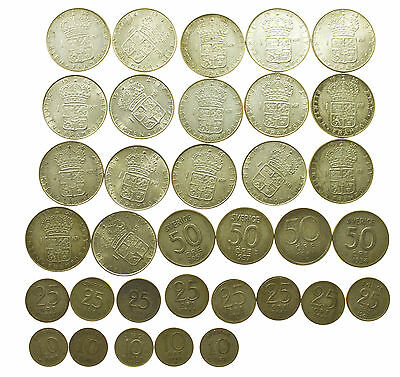 SWEDEN, COLLECTION OF 34 SILVER COINS, 164.6g, SVERIGE, 1933-1967