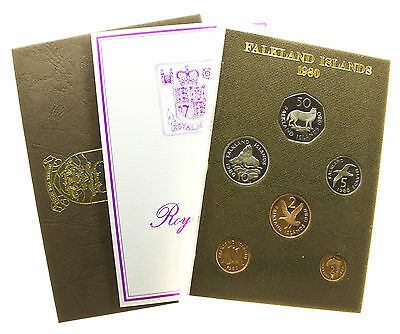 Falkland Islands, Decimal Proof Set, 50P-1/2P, Case & Coa, 1980